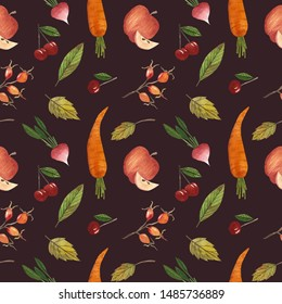 Digital paper harvest with autumn harvest, with fruits and vegetables. seamless pattern with fruits and vegetables. suitable for scrapbooking and decoupage