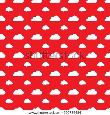 Digital Paper Scrapbook Red Clouds Background Stock Illustration