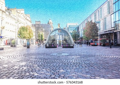 Digital pencil sketch from a photograph of St. Enoch Square, Glasgow, Scotland. underground entrance, cobbled pavement, surrounding shops, trees, daytime.