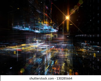 Digital Perspectives series. Background design of light grids and fractal elements on the subject of business, science, education and technology