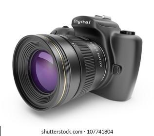 Digitale Fotokamera. 3D-Symbol einzeln auf weißem Hintergrund