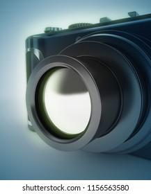 digital photo camera 3d rendering illustration