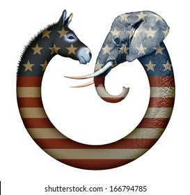 Digital and photo illustration of a donkey and elephant, representing democrats and republicans confronting each other.