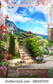 Digital photo manipulation - Beautiful white arch, flowers and stairs.