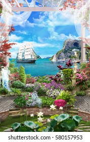 Digital photo manipulation - Sea and the ship of the white arch with beautiful flowers and roses.