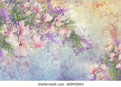 Digital photomanipulation - background on plaster with pink flowers and juniper