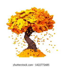 Digital Pixelated Falling Leaves From An Autumn Tree Isolated On White Background. 3D Illustration.