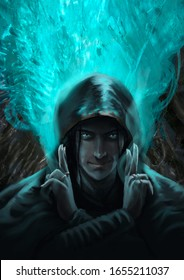 Digital portrait of a hooded man doing blue magic holding his hands in a ritual position