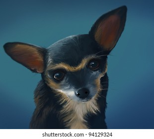 digital portrait painting of a Chihuahua dog