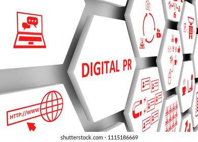 DIGITAL PR concept cell background 3d illustration