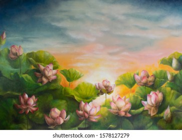 "Digital printing of oil painting ""Pond and Lotus"""