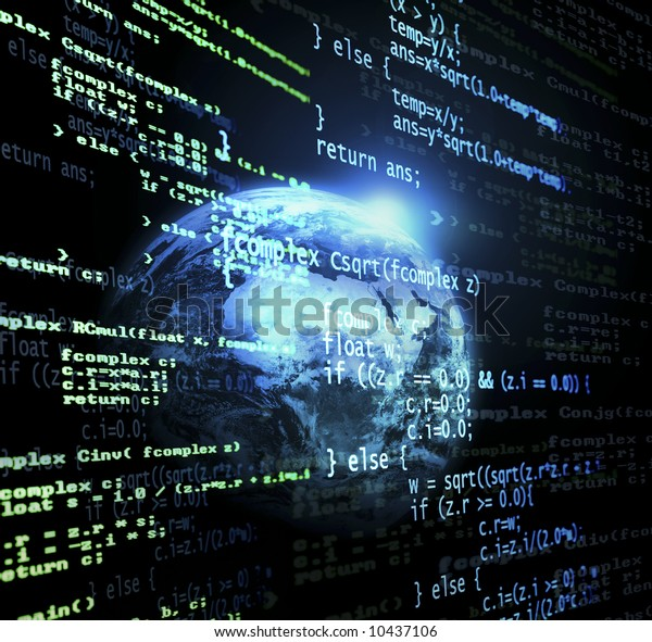 Digital program code with a earth globe background