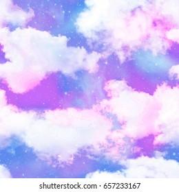 Digital Purple Cloud Night Sky Print  Seamless Pattern in Repeat