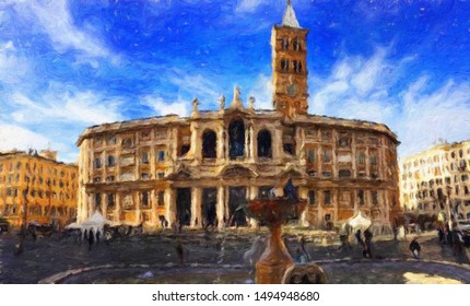 Digital realistic oil painting art scene of european building and architecture. Historical famouse touristic city place view. Impressionism large size canvas or paper print, postcard and stationery.