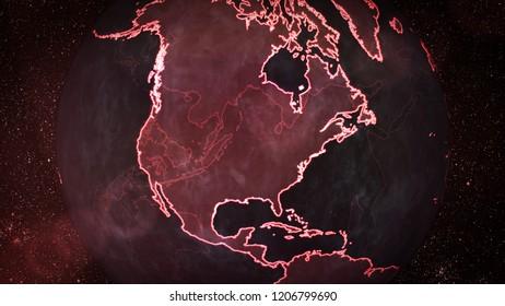 Digital Red Earth on North America - 3D Illustration