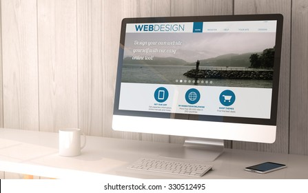 digital render generated workspace with computer and smartphone. web design website on screen. All screen graphics are made up.