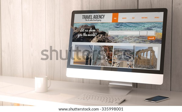 digital render generated workspace with computer and smartphone with travel agency online on the screen. All screen graphics are made up.