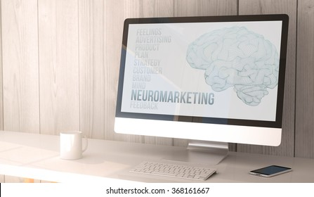 digital render generated workspace with neuromarketing on the screen of computer and smartphone. All screen graphics are made up. 3d illustration.