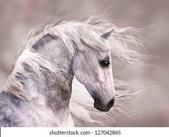 A digital render of the profile of a dappled grey horse.  Close up head shot, monochromatic warm sepia tones.