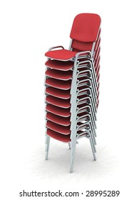 digital render of ten stacked red chairs