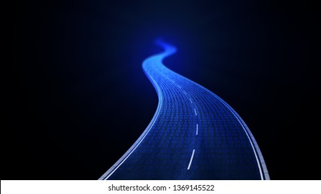 Digital road - 3D concept illustration