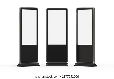 Digital screen display stand. LCD high defintion digital signage. Display monitors. Multimedia stands. 3d illustration