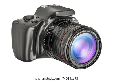 Digital single-lens reflex camera, closeup. 3D rendering isolated on white background