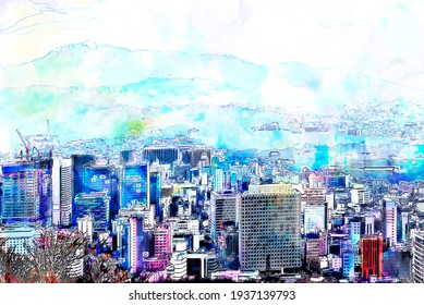 Digital Sketch and Drawing with color marker pen of Seoul cityscape, skyline, high rise office buildings and skyscrapers in Seoul city, Korea,