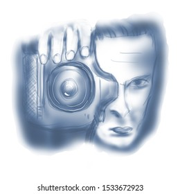 Digital Sketch of a Photographer using DSLR Camera Hand drawn sketch of a Photographer using DSLR Camera, 6000x6000 pixels,JPG. Can be used as it is or with any other design such as business card,leaf