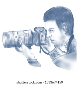 Digital Sketch of a professional Photographer Hand drawn sketch of a professional Photographer using DSLR Camera, 6000x6000 pixels,JPG. Can be used as it is or with any other design such as business
