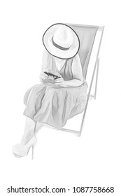 Digital Sketch of a woman in hat sitting in a deckchair looking at a vintage camera.