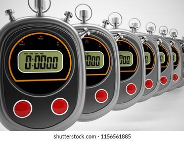 digital stopwatch 3d rendering illustration