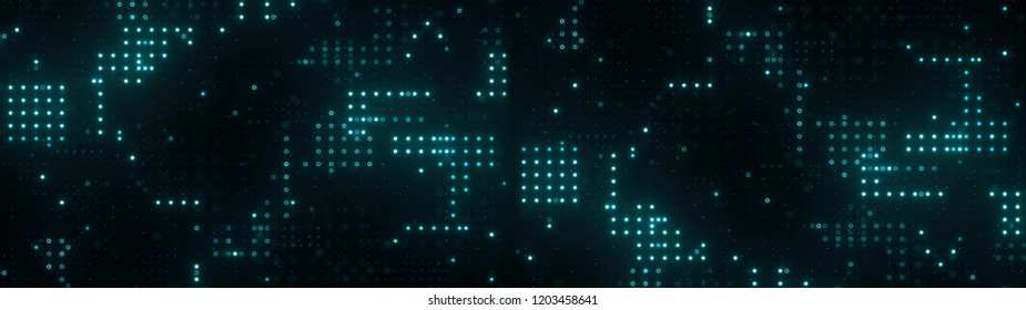Digital structure of many glowing particles. Abstract technology concept. Creative ultra wide background with luminous bright circles. Composition with lots of shining dots. 3d rendering