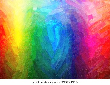 Digital structure of painting. Rainbow background of oil paint