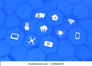 Digital Symbols Rendered 3D Blue - Drone, Mobile, Smartphone, Notebook, WLAN, touch, cloud