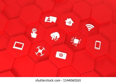 Digital Symbols Rendered 3D Red - Drone, Mobile, Smartphone, Notebook, WLAN, touch, cloud