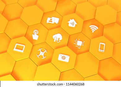 Digital Symbols Rendered 3D Yellow - Drone, Mobile, Smartphone, Notebook, WLAN, touch, cloud