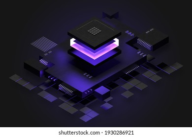 Digital technology concept with CPU socket.  Futuristic dark template with glow light effects for web, hero image, banner, landing, etc.