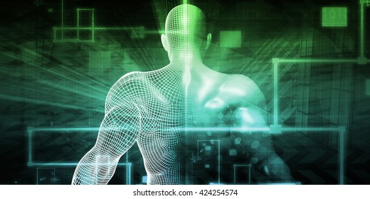 Digital Technology with Humanoid as a Futuristic Concept 3d Illustration Render