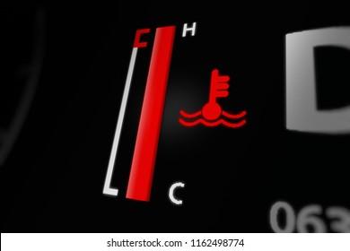 Digital Temperature Gauge  With Engine Temperature Warning Light on Car Dashboard. 3D illustration.