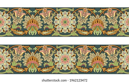 digital textile design with beautiful bunch decoration ethnic style and geometric border seamless