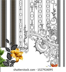 digital textile design flowers and leaves