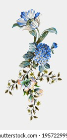 Digital textile design flowers and leaves, pattern and borders for printing