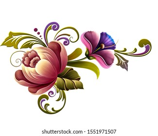 Digital textile flowers and leaves with beautiful colors