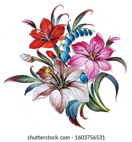 Digital textile printing flowers and leaves abstract vintage floral
