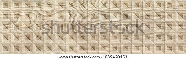 Digital tile design. Wood carving