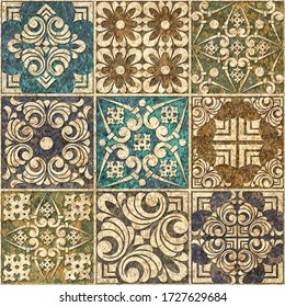 Digital tiles design.  3D render Colorful ceramic wall tiles decoration. Digital tiles design. Abstract seamless patchwork pattern with geometric and floral ornaments, Vintage tiles intricate details