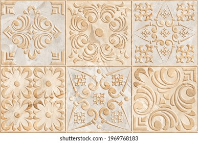 Digital tiles design.  3D render Colorful ceramic wall tiles decoration. Abstract damask patchwork pattern with geometric and floral ornaments, Vintage tiles intricate details