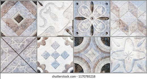 Digital tiles design. Colorful ceramic wall tiles decoration
