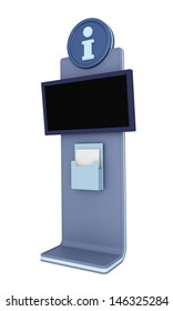 Digital touch screen terminal or info kiosk isolated on white. Render.